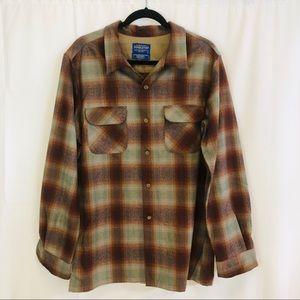 Men's Pendleton Wool Plaid Button Up Shirt Size L